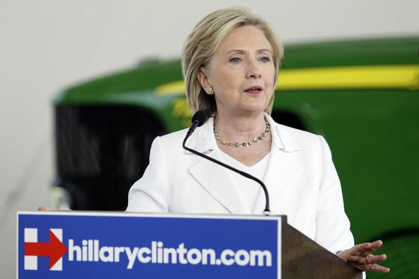 FILE - In this Aug. 26, 2015, file photo, Democratic presidential candidate Hillary Clinton speaks about rural issues at the Des Moines Area Community College in Ankeny, Iowa. For Clinton, the presidential campaign has been about building an approachable image: She's often eschewed big arenas in fa
