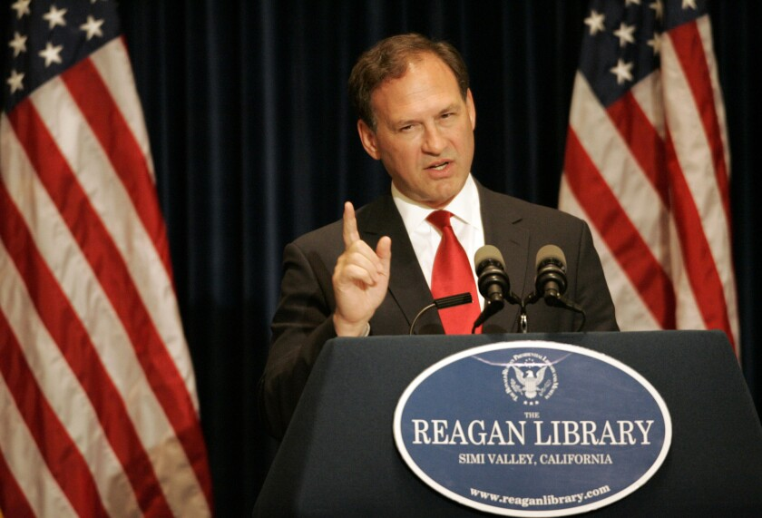 Twice in the last three years, Justice Samuel Alito has written opinions dealing defeats to public unions. Above, Alito at the Reagan library in Simi Valley.