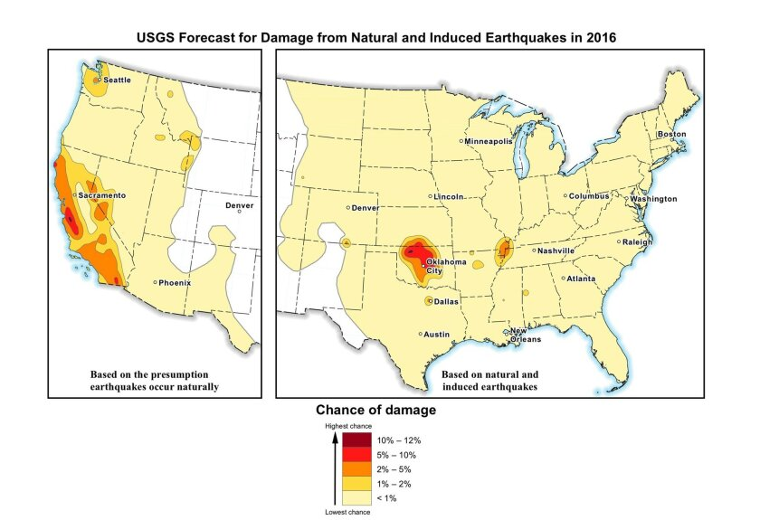 This image provided by the U.S. Geological Survey (USGS) shows the USGS forecast for damage from natural and induced earthquakes in the U.S. in 2016. Federal scientists say the chance of damaging earthquakes hitting east of the Rockies has increased significantly, much of it man-made as byproduct of drilling for energy. Oklahoma now has the nation's highest with a 1 in 8 chance of damaging ground shaking in 2016, passing California. (U.S. Geological Survey via AP)