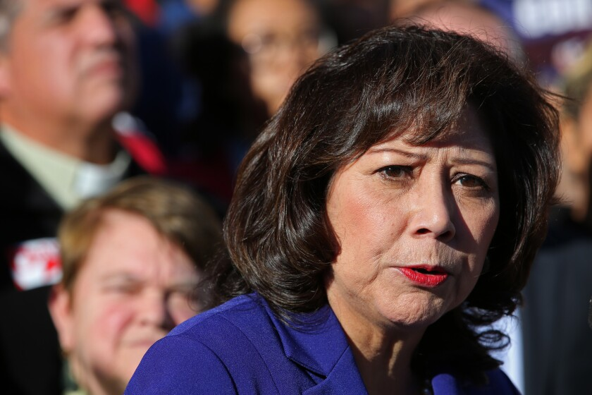 L.A. County Supervisor Hilda Solis, seen on the steps of the Kenneth Hahn Hall of Administration building on Feb. 24, 2015, in downtown Los Angeles.