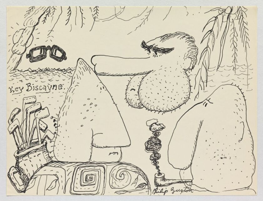 "Philip Guston, ""Untitled,"" The Nixon Series, 1971, ink on paper."