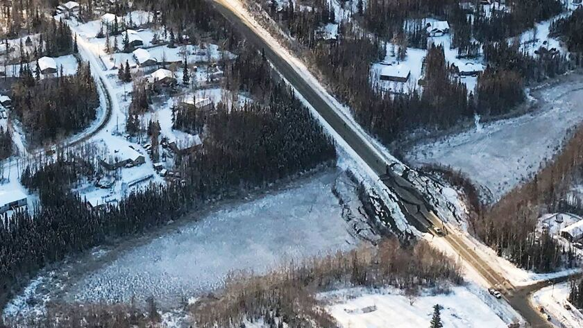 An aerial view of damage to a road in Alaska from the Nov. 30 earthquake.