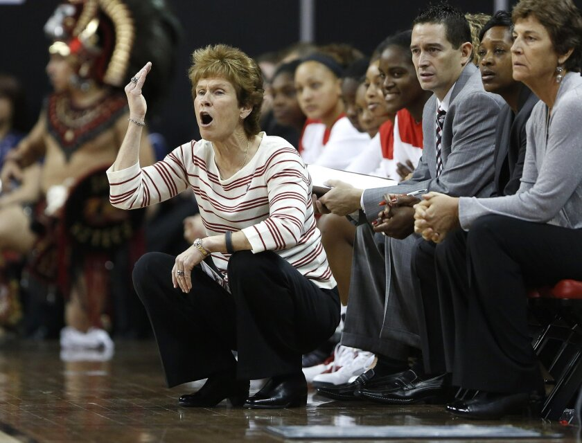 Head coach Beth Burns coaches her team as SDSU women's team took on the Nevada Wolf Pack of the Mountain West Tournament in Las Vegas Thursday.