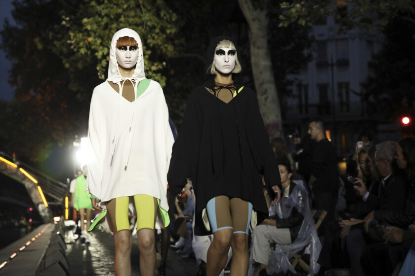 Models wear creations as part of the Courreges Ready To Wear Spring-Summer 2020 collection, unveiled during the fashion week, in Paris, Wednesday, Sept. 25, 2019. (Photo by Vianney Le Caer/Invision/AP)