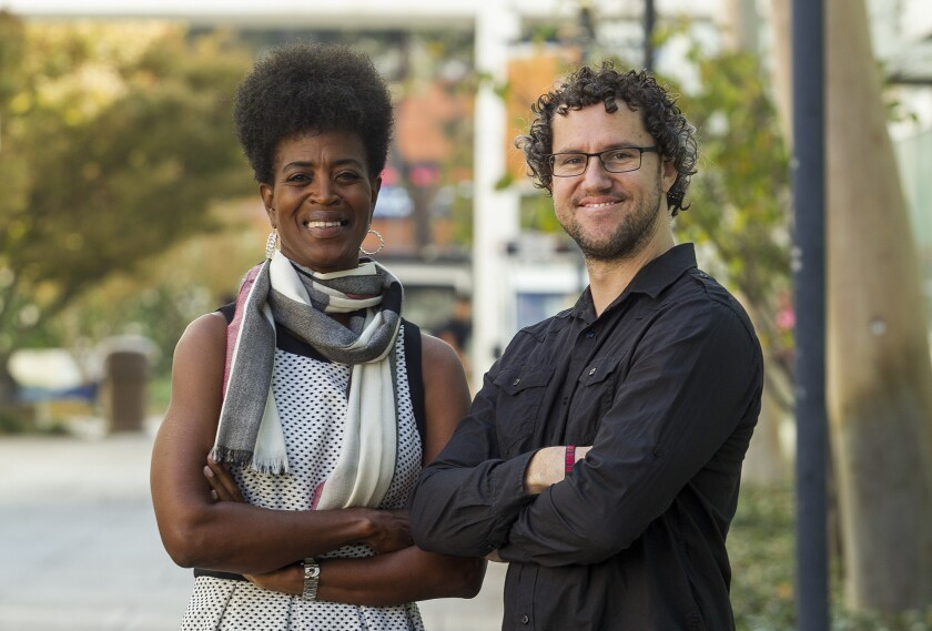 Romarilyn Ralston, left, and Brady Heiner are in charge of Project Rebound at Cal State Fullerton.