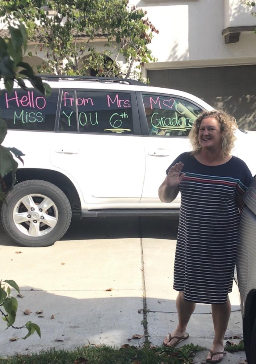 Torrey Hills teacher Holly Morey outside the Rubin family home.