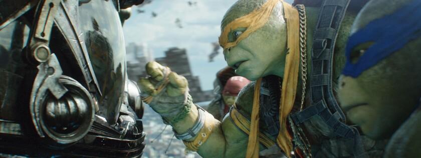 "Raphael, Michelangelo and Leonardo in ""Teenage Mutant Ninja Turtles: Out of the Shadows"""
