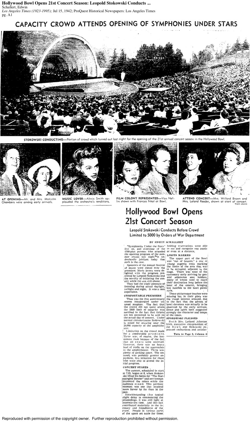 July 15, 1942: The Times runs a story about the opening of the season at the Hollywood Bowl, with a caveat that crowd size had been limited to 5,000 as a wartime safety measure.