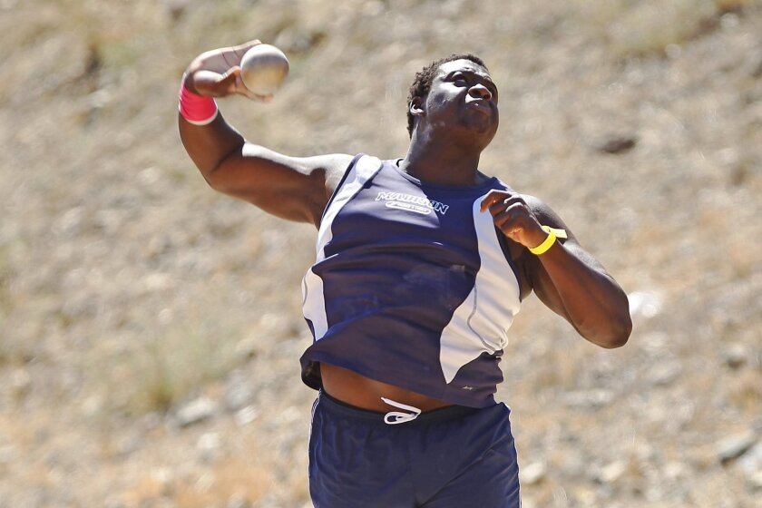 In addition to a season state-best toss of 194-5 in the discus, Madison senior Dotun Ogundeji also won the shot put with a mark of 63-6½.