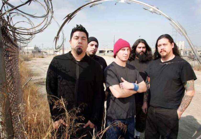 Chino Moreno, left, Frank Delgado, Abe Cunningham, Stephen Carpenter and Chi Cheng, in 2006.