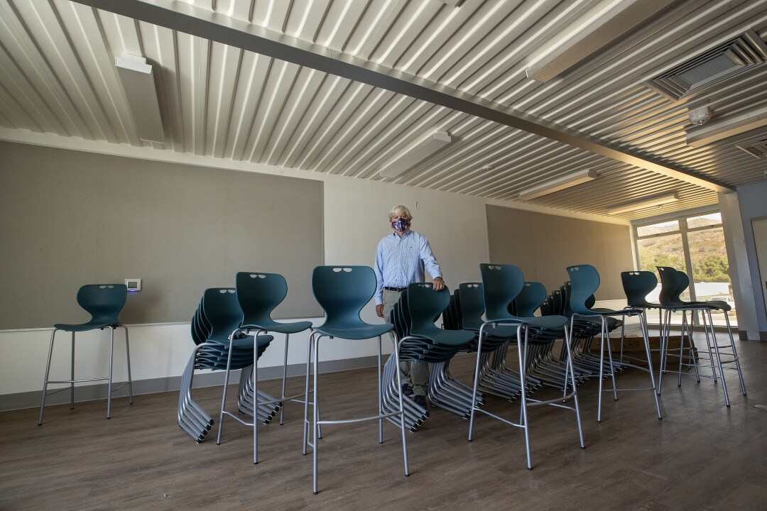 Supt. Tony Knight of Oak Park Unified in Ventura County inside a new classroom building made of shipping containers.