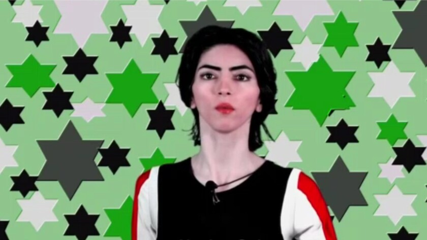 Nasim Aghdam is shown in one of her YouTube videos.