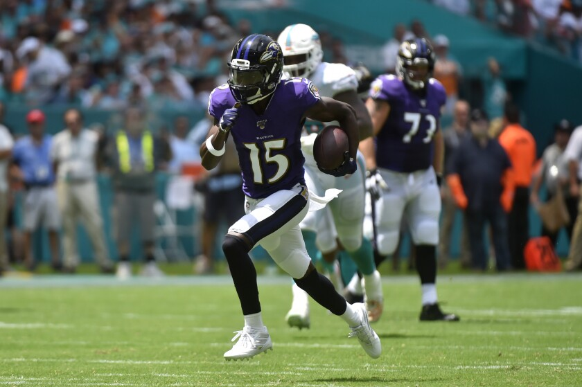 The Ravens first round draft pick Marquise Brown (15) made quite the debut against the Dolphins Week 1. He deserves to be rostered in your fantasy football league.
