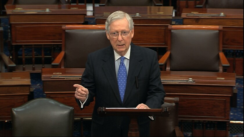Majority Leader Mitch McConnell speaks on the Senate floor on Thursday about plans for the Trump impeachment trial.