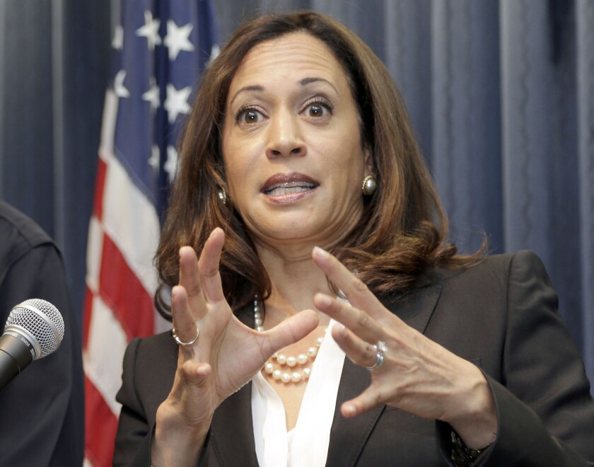 California Attorney General Kamala Harris speaks at a news conference in Los Angeles in September of 2015.