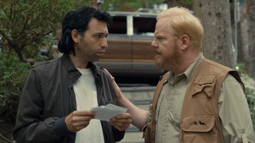 "Alex Karpovsky, left, Jim Gaffigan in the movie ""Being Frank."""