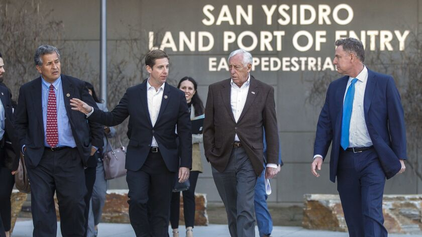 SAN YSIDRO, February 22, 2019   House Majority Leader Steny Hoyer, second from right, walks with Con