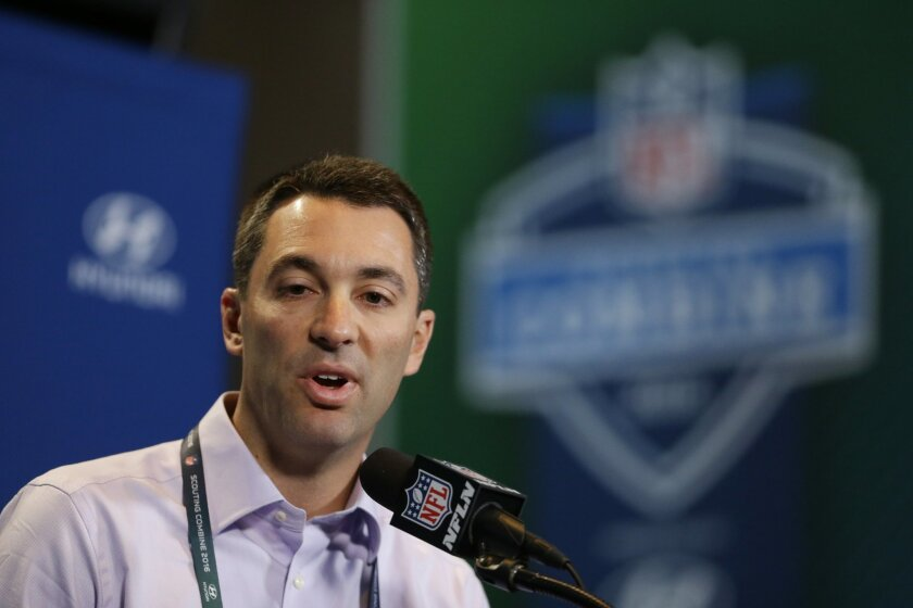 FILE - In this Feb. 25, 2016, file photo, San Diego Chargers general manager Tom Telesco speaks during a news conference at the NFL football scouting combine in Indianapolis. With the Rams and Eagles having traded up to secure the top two spots, where they have said they will take quarterbacks, it's San Diego that likely will determine the flow on Thursday night. Telesco has not been shy about making draft-day deals. (AP Photo/Michael Conroy, File)