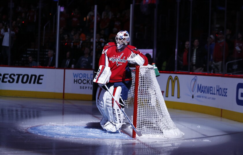 Goalie Braden Holtby (70) takes a moment before Game 1 of theCapitals first round matchup with the Philadelphia Flyers.