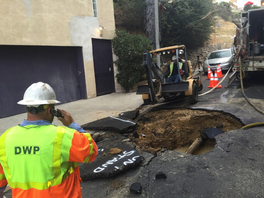 Sinkhole work in Silver Lake
