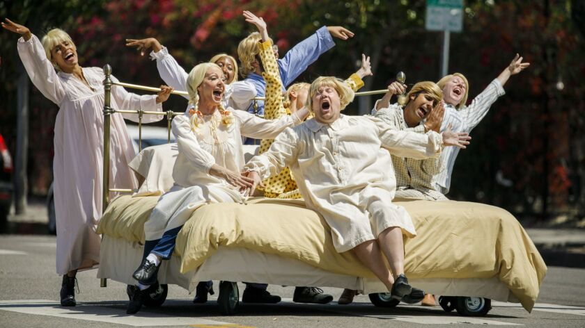 James Corden, along with Allison Janney, Anna Faris, Kunal Nayyar and other actors, take part in the a crosswalk musical that will appear on the The Late Show With James Corden.