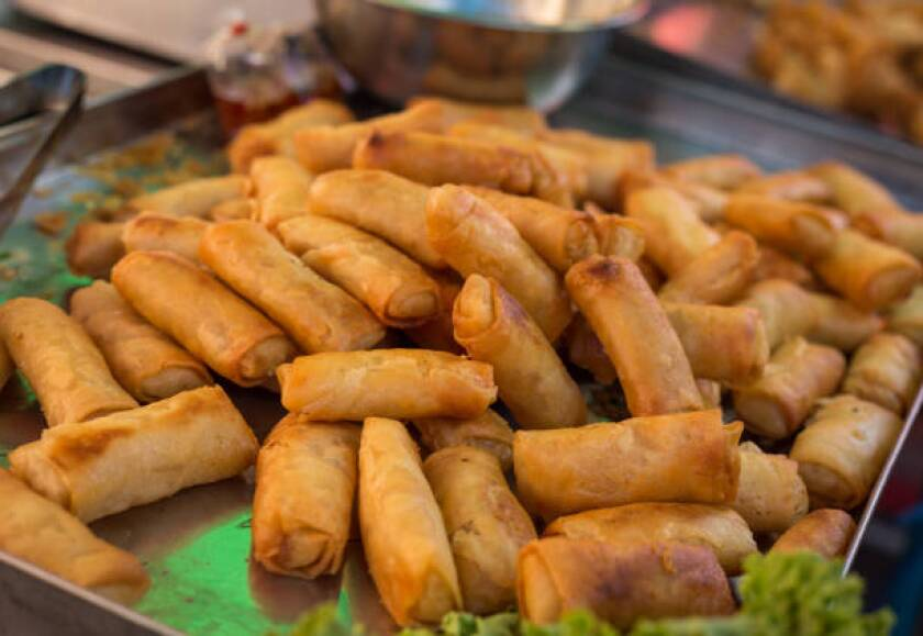 Group of Deep fried spring rolls or Thai Spring Roll