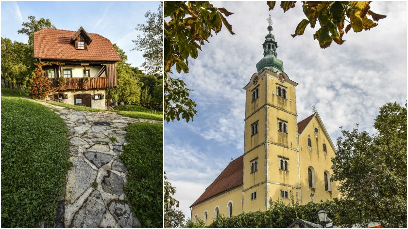 Etno Kuca, a rural farmstay in the mountains outside the town of Samobor, left. The church in the rural town of Samobor.