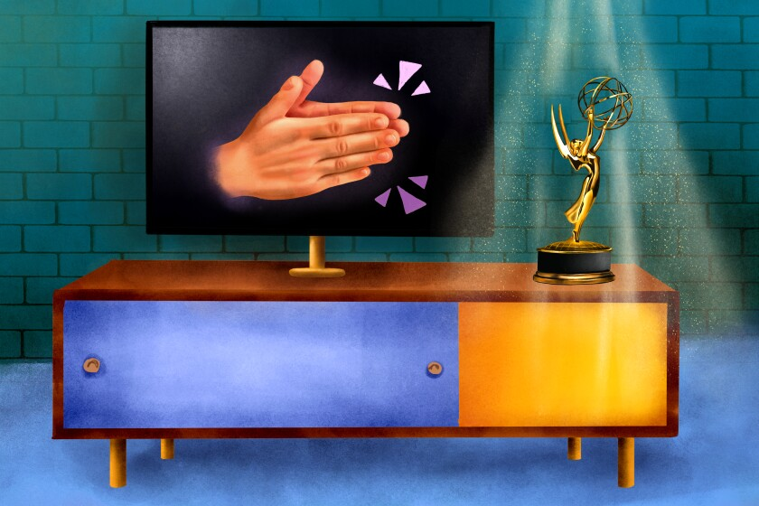 Illustration of television set with applauding hands, with Emmys statuette.