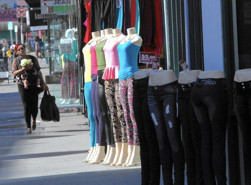 Clothes are on display in the fashion district, where a high volume of wholesale trade with Mexico has been used to convert drug profits into merchandise that can be exported to Mexico and sold for pesos.
