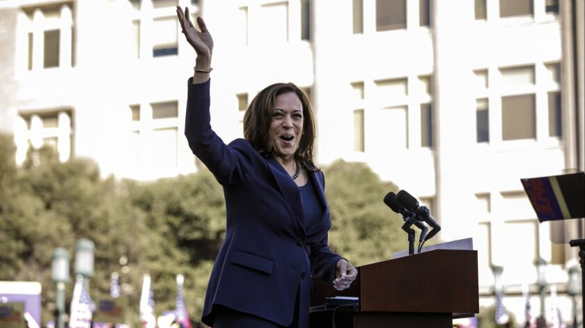 OAKLAND, CALIF. -- SUNDAY, JANUARY 27, 2019: Senator Kamala Harris arrives on stage to launch her pr