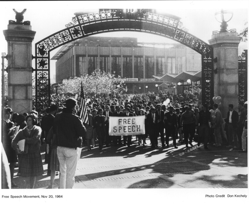 Students march in a Free Speech Movement rally at UC Berkeley's Sproul Plaza on Nov. 20, 1964.