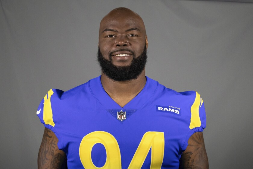 FILE- This is a 2020 file photo of A'Shawn Robinson of the Los Angeles Rams NFL football team. The Rams activated Robinson to their 53-man roster Friday, Oct. 30, 2020, but they haven't decided whether the hulking defensive tackle will play Sunday at Miami. (AP Photo/File)