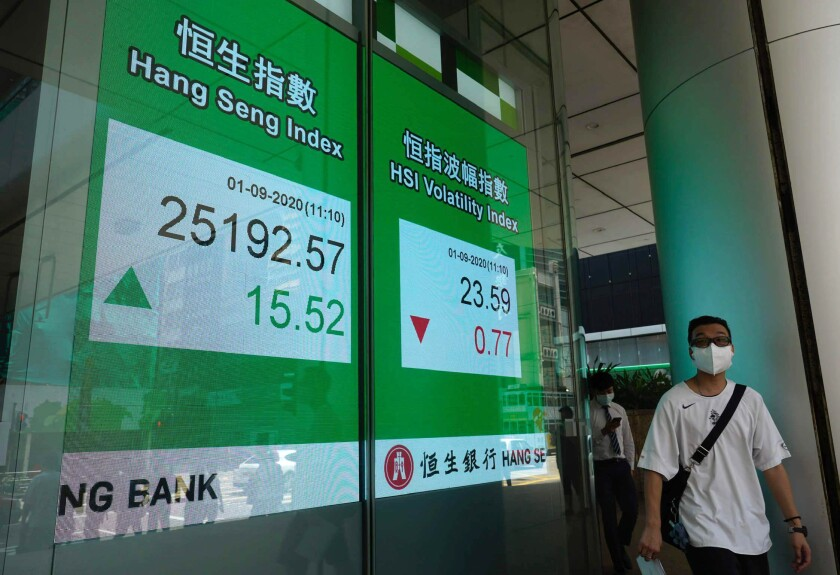 A man wearing a face mask walks past a bank's electronic board showing the Hong Kong share index at Hong Kong Stock Exchange Tuesday, Sept. 1, 2020. Major Asian share indexes edged lower Tuesday in mostly muted trading after a retreat overnight on Wall Street. (AP Photo/Vincent Yu)