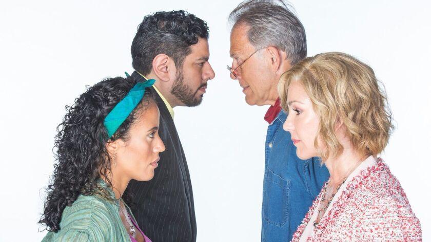 From left: Kimberli Flores as Tania del Valle, Eddie Martinez as Pablo del Valle, Mark Pinter as Fra