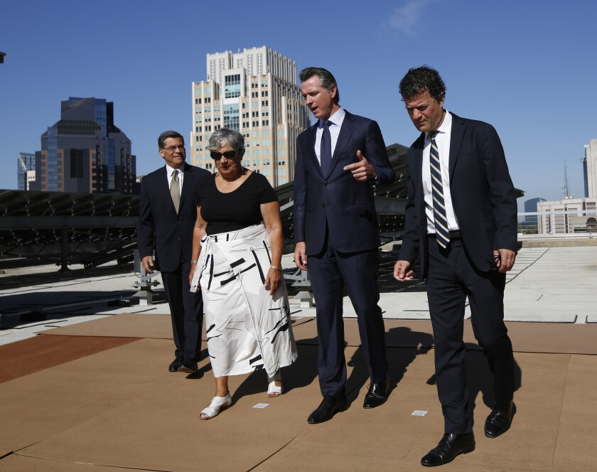 Among the California officials facing down the president will be state Atty. Gen. Xavier Becerra, left, California Air Resources Board Chairwoman Mary Nichols, Gov. Gavin Newsom and  California EPA Director Jared Blumenfeld.