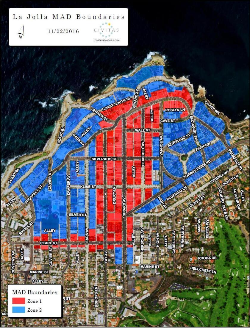 This map shows proposed boundaries for the La Jolla Maintenance Assessment District (MAD). Properties in red will pay more than properties in blue for a tax to fund additional maintenance in the area through outsourced vendors.