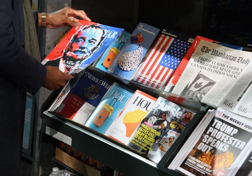 TA misinformation newsstand is seen in midtown Manhattan on October 30, 2018.
