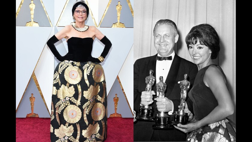 Rita Moreno arrives for the 90th Annual Academy Awards on March 4, 2018, in Hollywood, Calif., (right) and the actress in 1962 wearing the same dress when she won the Oscar for best supporting actress.