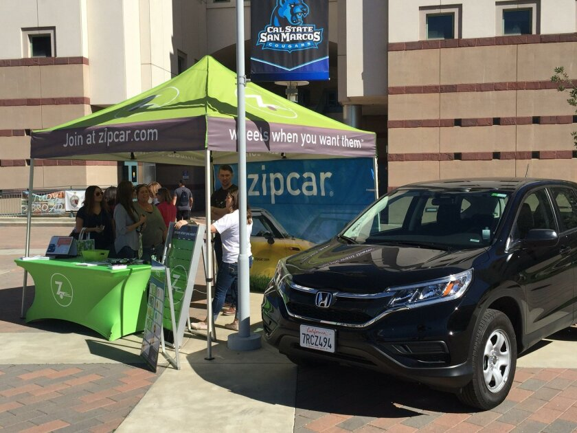 Students, faculty and staff members at Cal State San Marcos University began signing up for Zipcar members on campus Thursday.