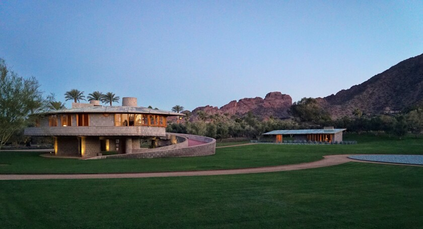 Spanning six acres, the estate centers on a spiral-shaped home, designed by Frank Lloyd Wright, of roughly 2,200 square feet.
