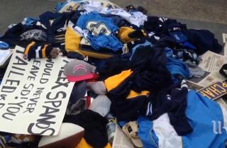 Fans toss jerseys, cry at Chargers Park after team announces move