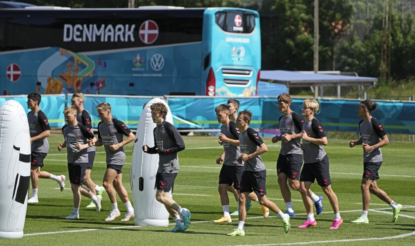 Danish players exercise during a training session of Denmark's national team in Helsingor, Denmark, Tuesday, June 15, 2021. It is the second training of the Danish team since the Euro championship soccer match against Finland when Christian Eriksen collapsed last Saturday. (AP Photo/Martin Meissner)