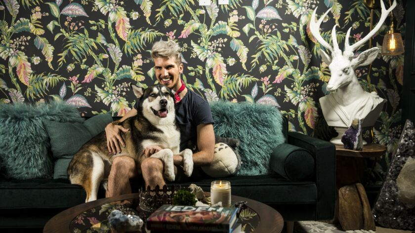 Actor and YouTube star Joey Graceffa poses for a portrait with his dog,