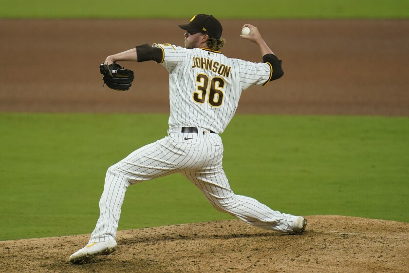 Padres relief pitcher Pierce Johnson works against the San Francisco Giants on Thursday.