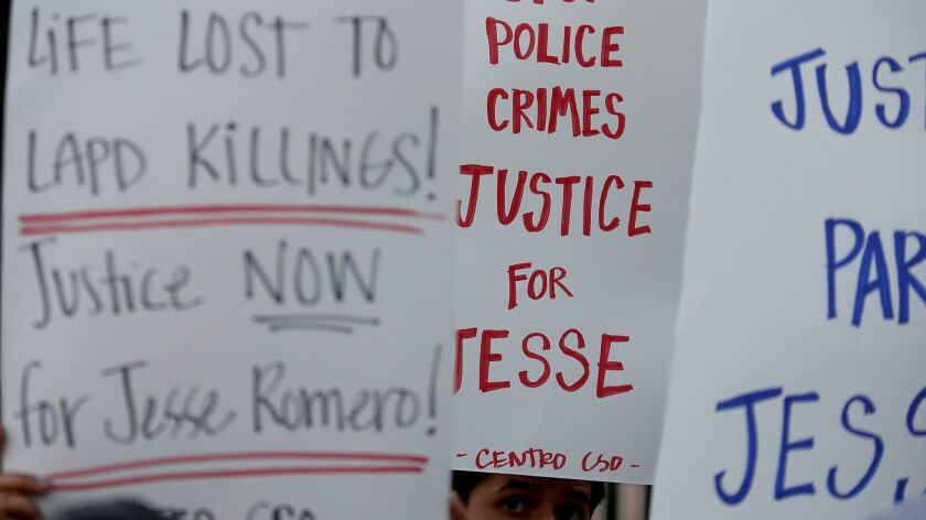 Los Angeles settled a lawsuit in the fatal shooting of Fred Barragan, 35, by police officers in Boyle Heights. Above, protesters speak out against police killings in the neighborhood after the shooting death of 14-year-old Jesse Romero in 2016.