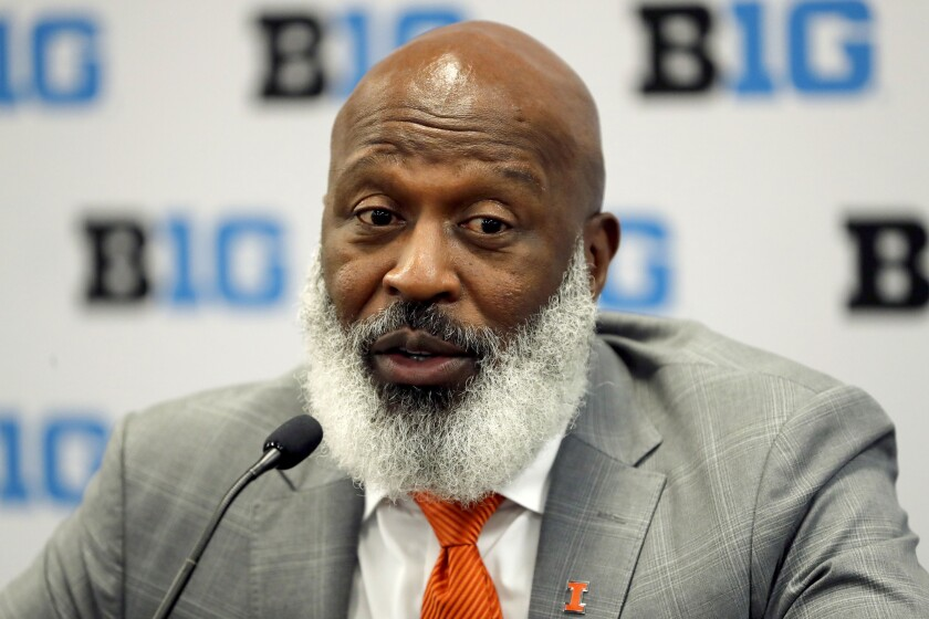 Illinois coach Lovie Smith speaks to reporters during Big Ten Conference media days in July.