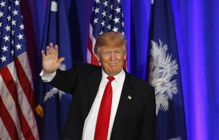 Republican presidential candidate Donald Trump speaks during a South Carolina Republican primary night event, Saturday, Feb. 20, 2016 in Spartanburg, S.C. Trump is the winner in the South Carolina Republican primary. (AP Photo/Paul Sancya)