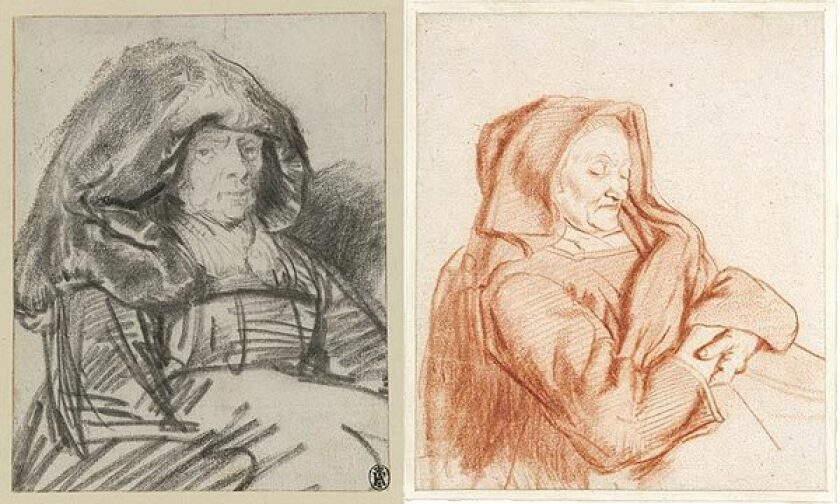 """Getty curator Lee Hendrix: """"Rembrandt was fascinated by old people. Maes took that aspect of his work and made a specialty of old women. Rembrandt's drawing [uses] a huge range of strokes. He smudged the chalk to convey the sheen of the woman's hood, used energetic strokes on the less finished arms and skirt, and drew this amazing face in detail. Then we have Maes, with his very fine style that's consistent throughout the whole drawing."""" The Dutch master's """"Old Woman With a Large Headdress"""" is at left. """"Old Woman Asleep"""" by Nicolaes Maes is at right."""