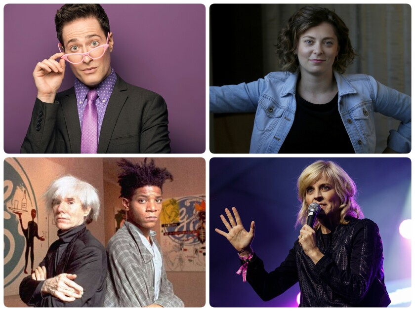 Randy Rainbow, Rachel Bloom, Maria Bamford and Andy Warhol pictured with Jean-Michel Basquiat