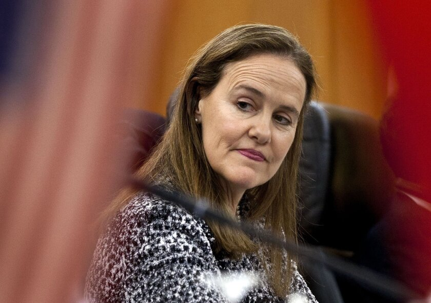Former U.S. Defense Undersecretary Michele Flournoy, shown in 2011, reportedly has taken herself out of consideration for the Pentagon's top job.
